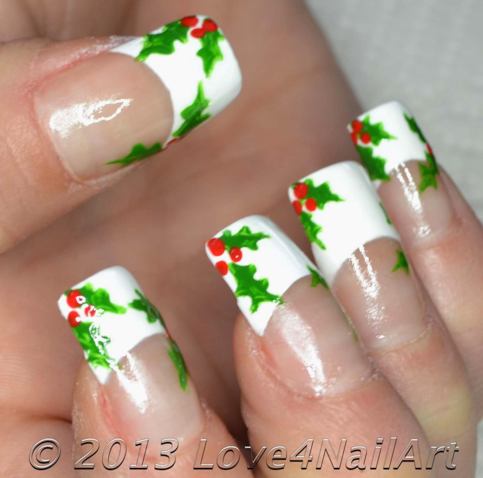 Love4nailart Christmas Holly Nail Art Tutorial