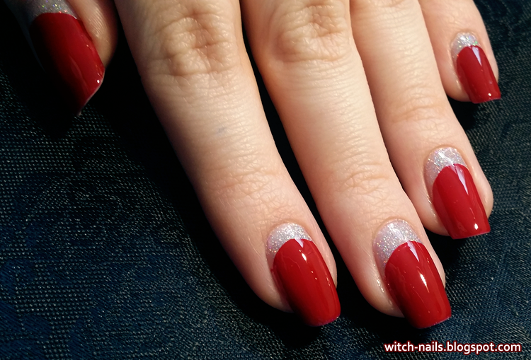 red and silver reverse half moon manicure