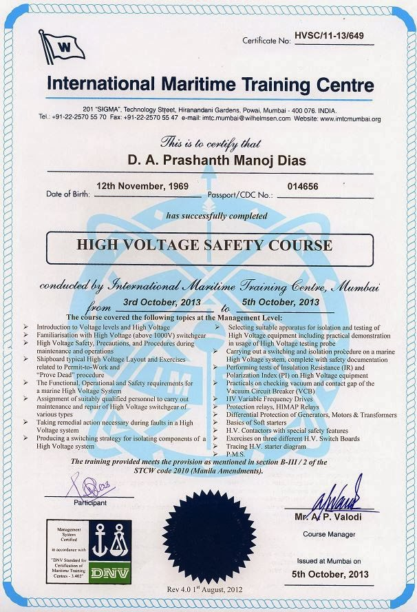 High Voltage Safety Training : My cv and certificates