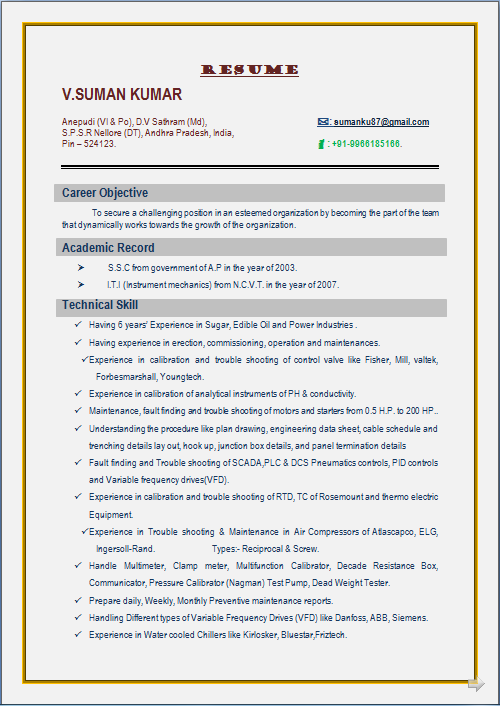 resume blog co  resume sample for i t i  instrument mechanics  from n c v t  u0026 having 7 years