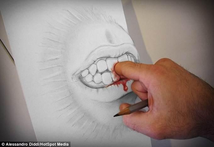 lukisan 3d tangan digigit mulut