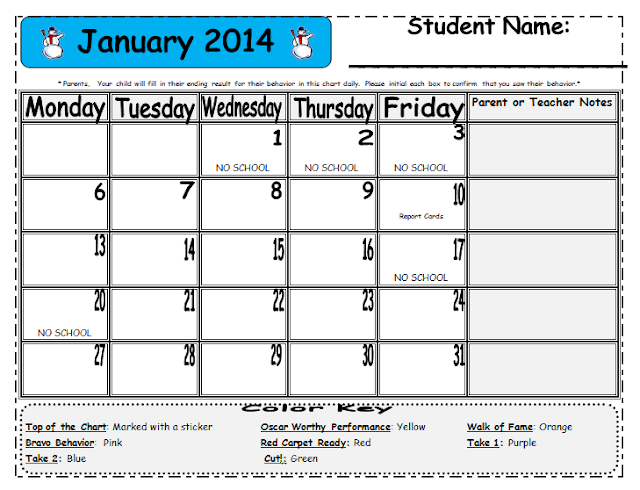 LaSota's Little Learners: FREE 2013-2013 Editable Behavior calendar