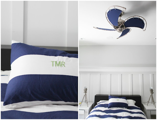Blue White Awning Stripe Bedding Green Monogram Canvas Ceiling Fan Custom Nightstand Low Profile Bed