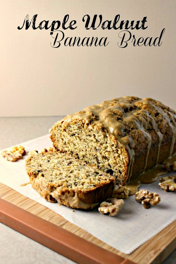 Renee's Kitchen Adventures:  Maple Walnut Banana Bread with Maple Glaze.  Sweetened with pure maple syrup.  #maple #banana