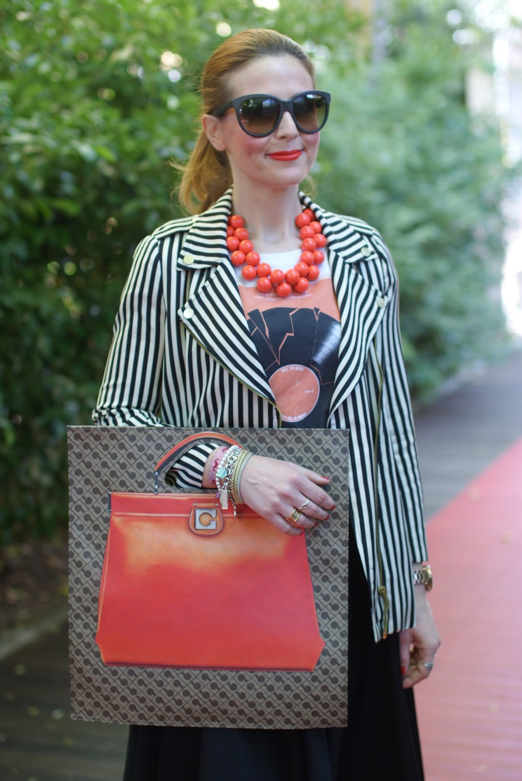 Gherardini bag, Gherardini piattina anniversary 130, striped Zara jacket, Fashion and Cookies fashion blog, fashion blogger
