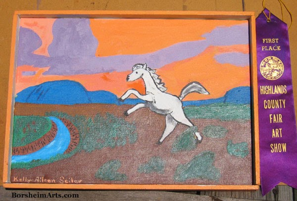 art by children, acrylic painting by child, horse, mountain, wild west, prize winner, art context