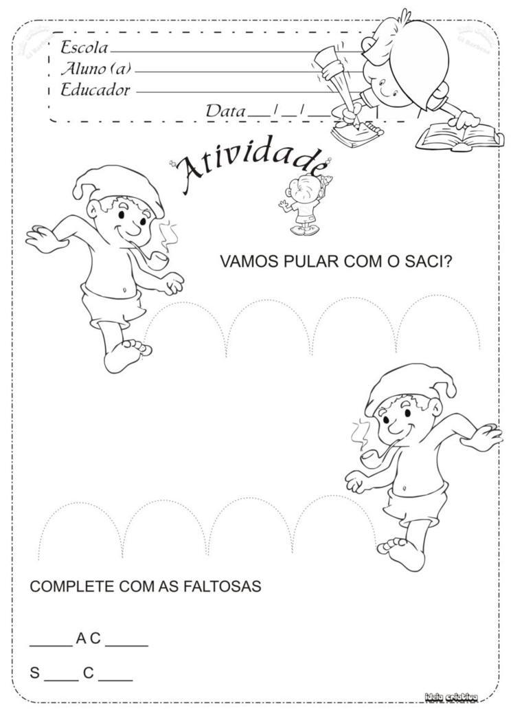 Atividade Folclore Curupira Saci Iara