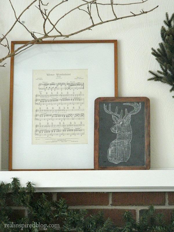 Rustic Christmas Home Tour 2015: Winter Wonderland Framed Sheet Music and Chalkboard Deer art