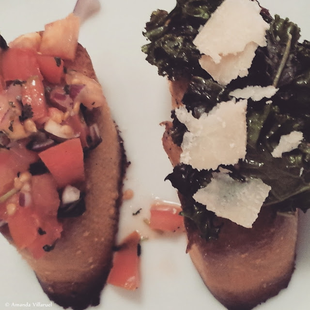 Crostini/bruschetta with tomato salad and kale/parmesan