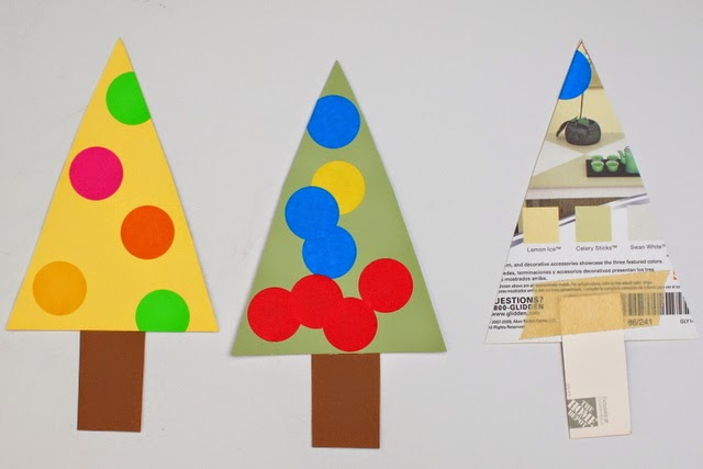 make christmas tree advent calendar from paint samples and circle stickers