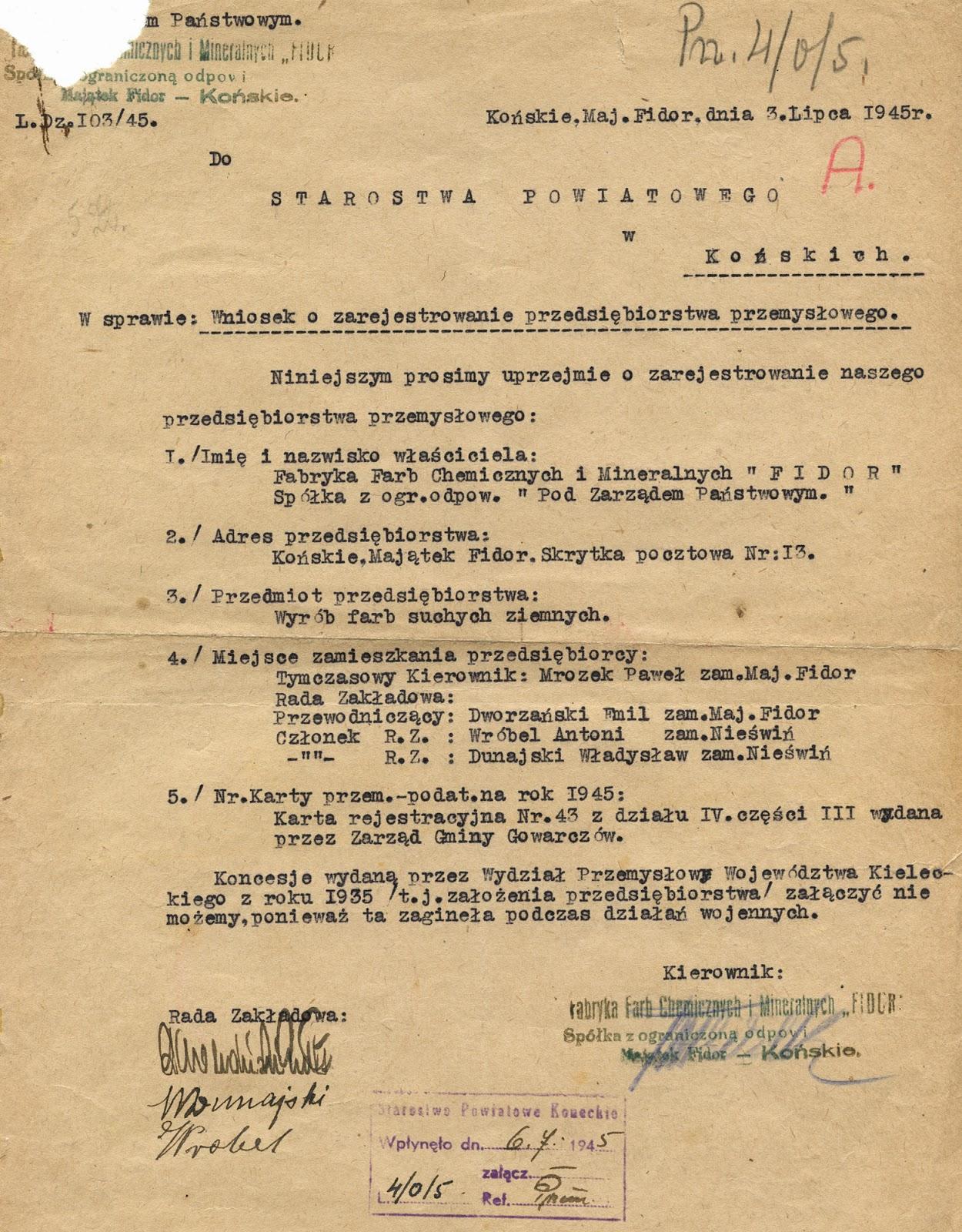 Burzliwy był ten rok 1945 w historii fabryki farb. Dokument z 2.07.1945 r. w zbiorach KW.