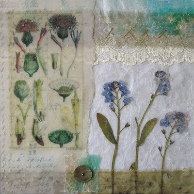 Carolyn saxby mixed media textile art work from our exhibition mixed media collage calico waxed paper waxed fabrics real pressed flowers silk lace some stitches and a button mightylinksfo