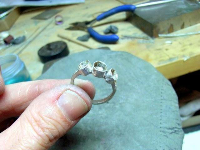 setting for sea glass trio ring seaglass