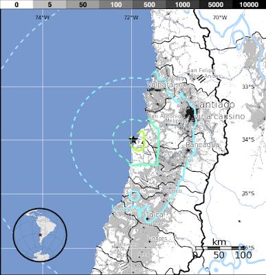 Epicentro sismo 6,1 grados en Chile, 21 de Noviembre 2012