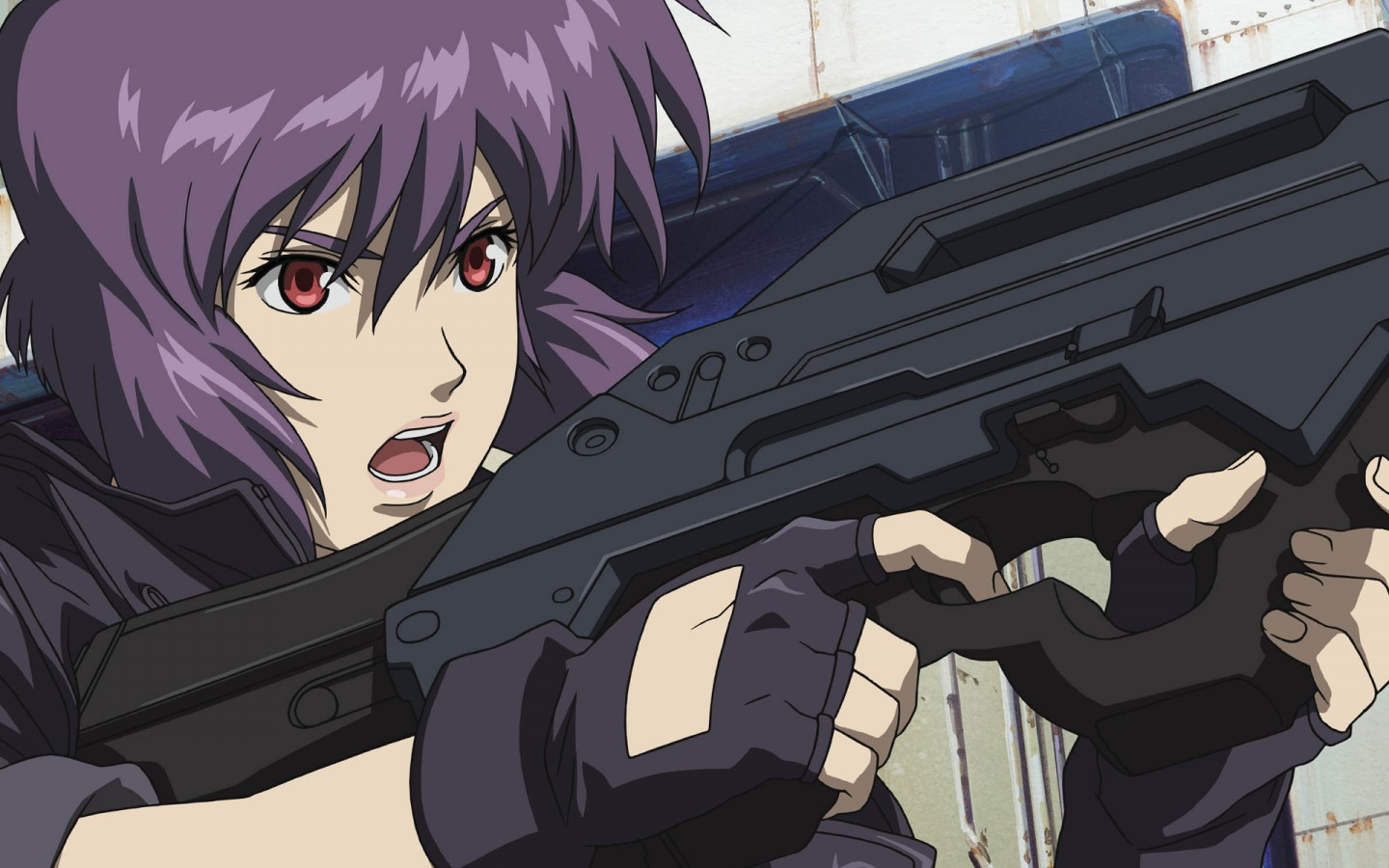 Female firing gun in Ghost in the Shell 1995 animatedfilmreviews.blogspot.com
