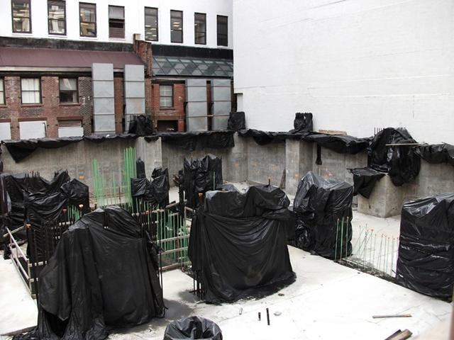 Close up of steel rebars at 56 Leonard Street Construction Site, New York