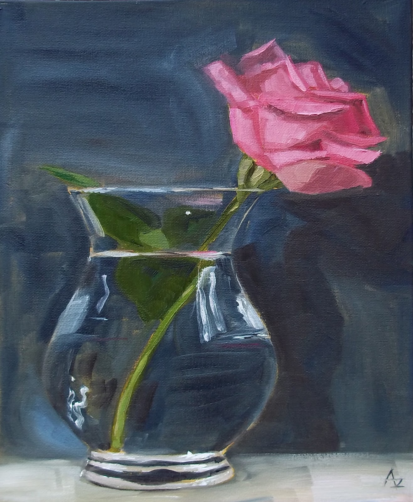 Azra 39 s painting a day pink rose in glass vase for How to paint glass with oil paint