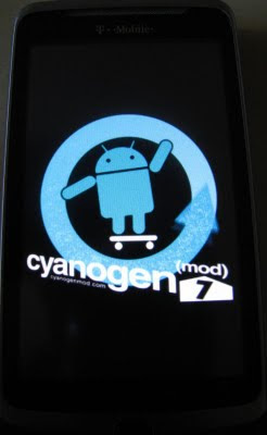 T-Mobile HTC G2 Rooted Android - Cyanogen Mod 7 ROM - Android 2.3 Gingerbread - Startup Screen