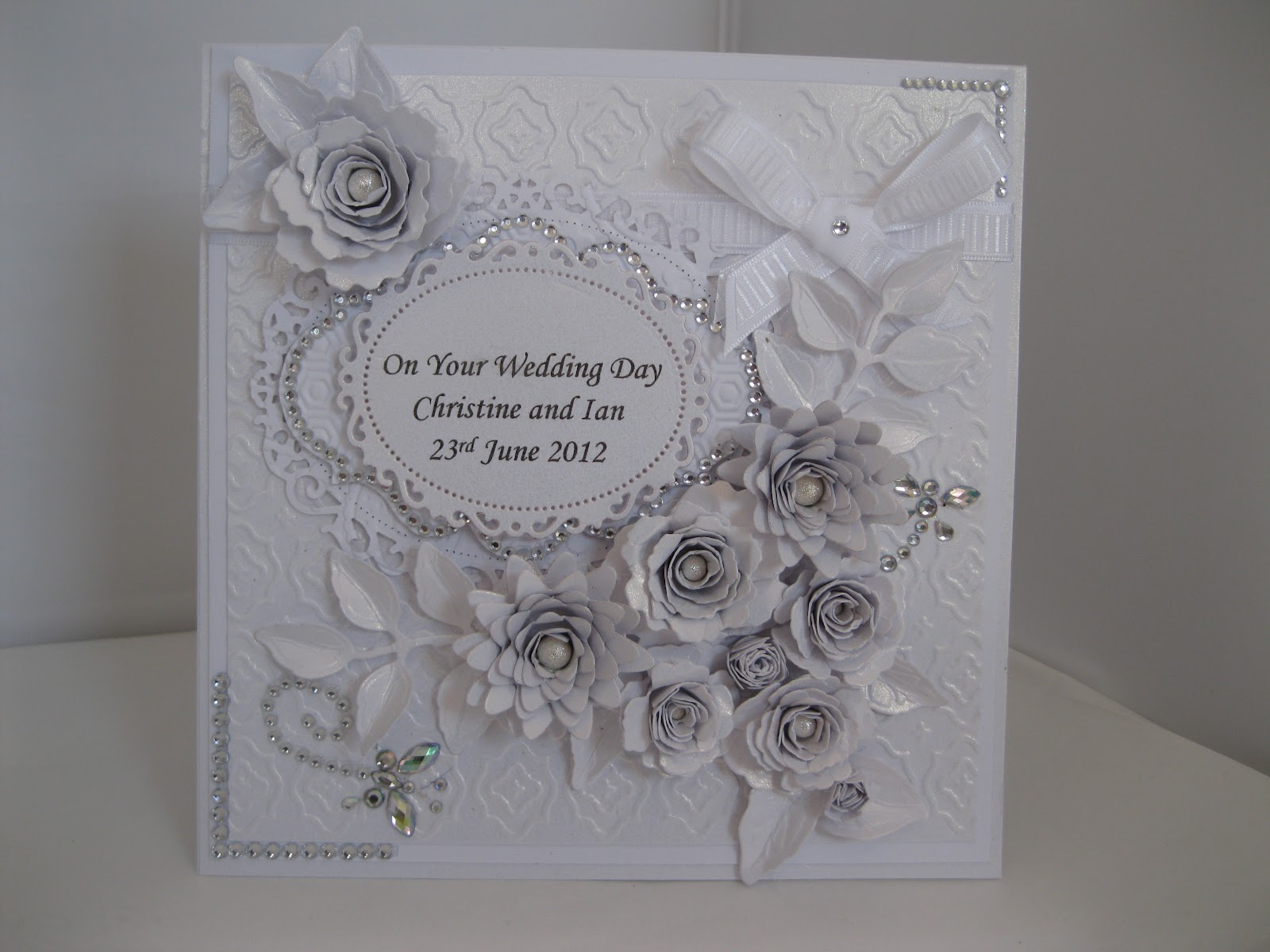 Flowers Ribbons And Pearls Silver And White Wedding Card