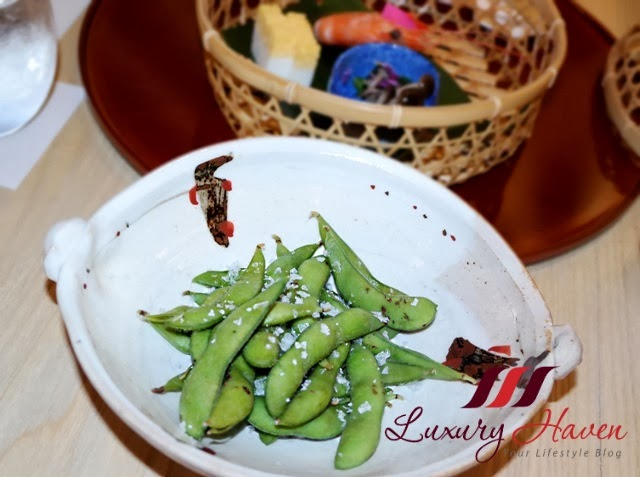 hashi serves japanese edamame beans