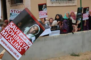 Masya Allah, Warga Gaza Gelar Aksi Solidaritas untuk Muslim Rohingya