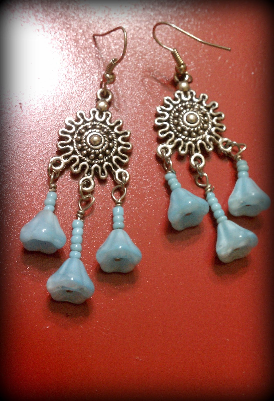 Blue Flower beads Earrings - JewelsByDesikalakar
