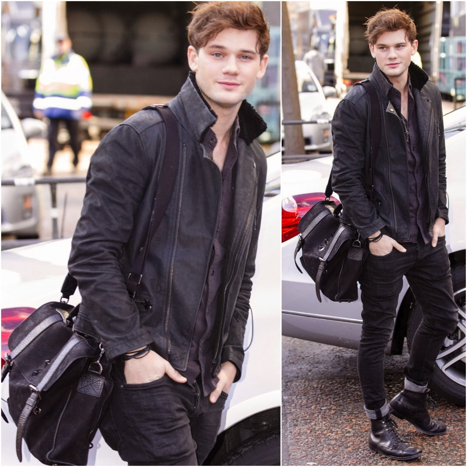 Jeremy Irvine's Mulberry 'Ted' Messenger Bag