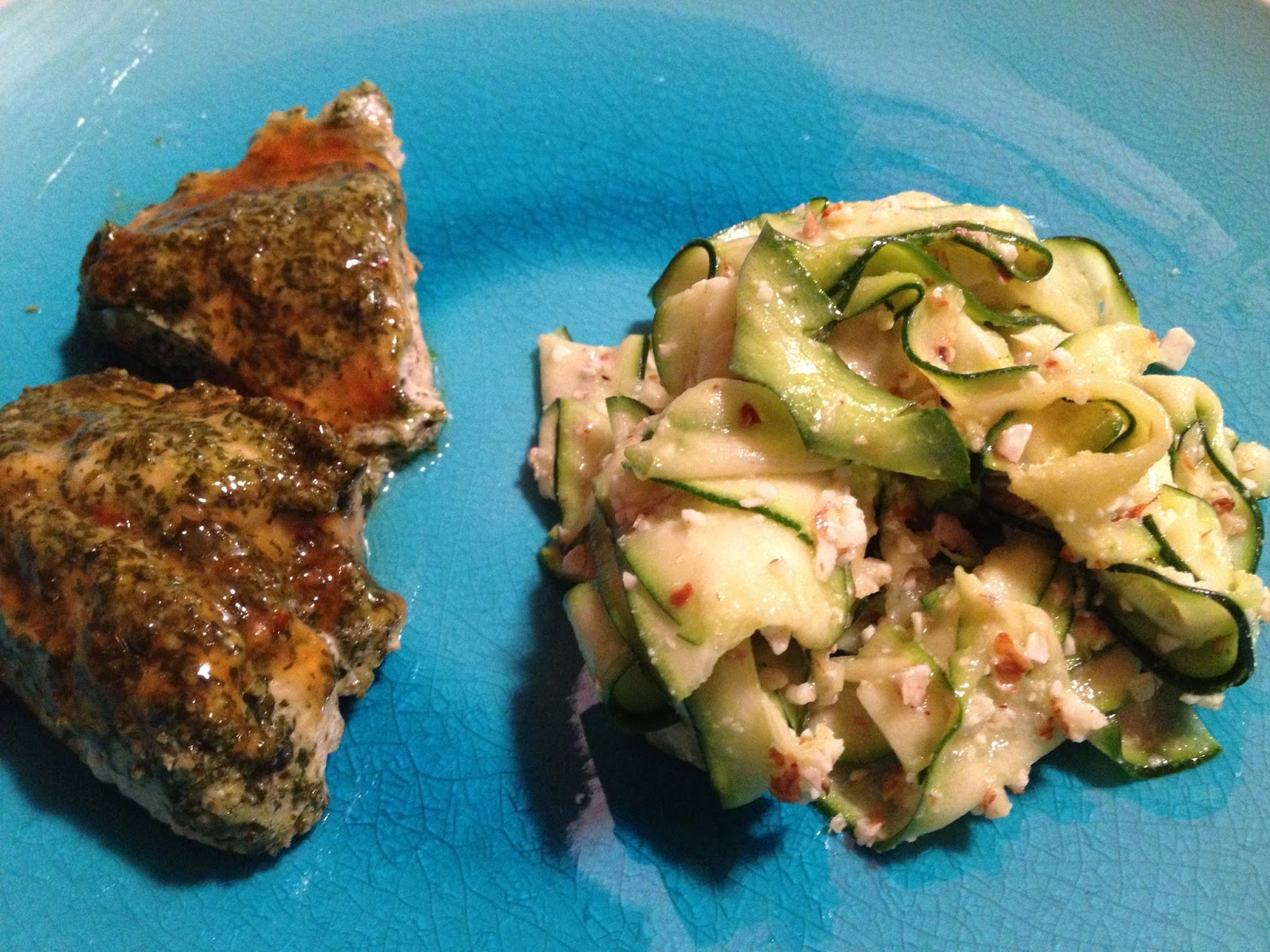 Recipe Endeavors: Zucchini Ribbons with Almond Pesto - Cook the Books
