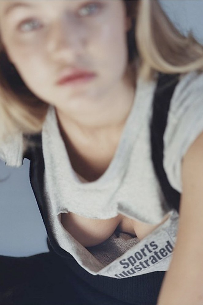 Gigi Hadid shows off undies for Pop Magazine April 2015