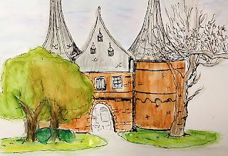 urban sketch stadspoort Kampen