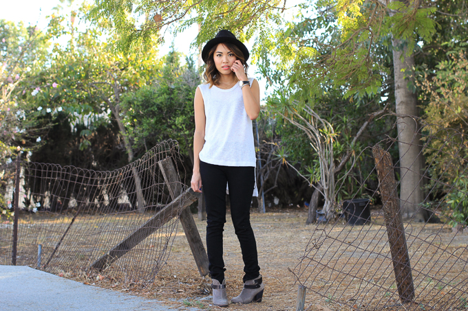 Rag & Bone Harrow Boots, LnA Clothing Coronado Tank, Rich and Skinny black pants, beautybitten
