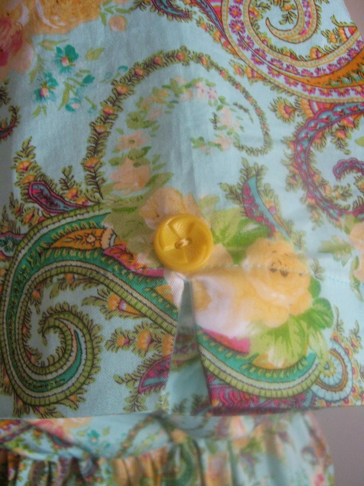 New Look A6180 Aqua Paisley Shirt Dress Sleeve Detail View www.sewplus.blogspot.com