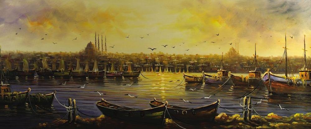 Denizi kapladığı bir istanbul manzarası yağlı boya tablosu