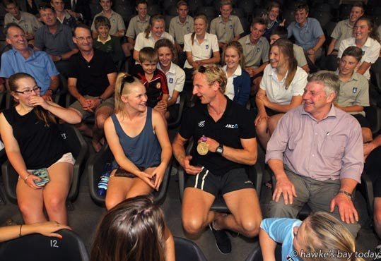 Centre L-R:Nikki Livingston, chatting to Hamish Bond, Olympic champion rower, before he spoke to the Havelock North Jared Cunningham Sports Academy, at Havelock North High School, Havelock North. photograph