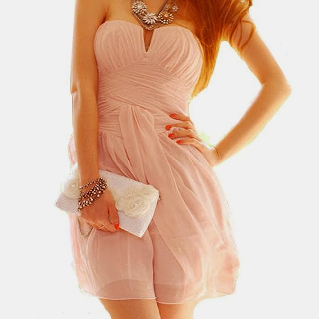 Pink Strapless Cocktail Dress With White Purse