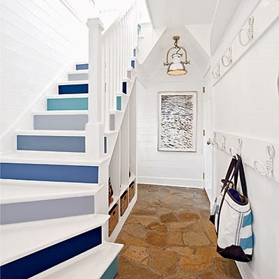 blue painted staircase