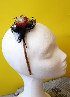 diadema flor negra y fucsia style oju illa