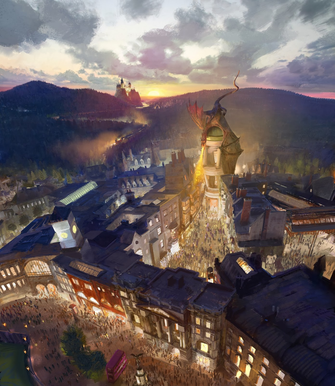 Artist Rendering Diagon Alley Wizarding World of Harry Potter Expansion