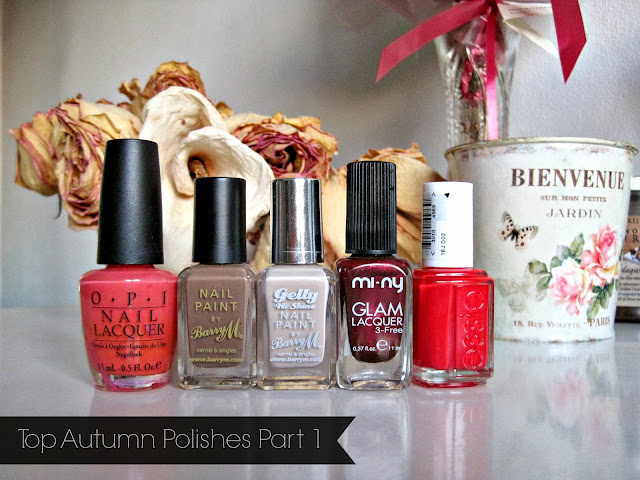 OPI - Hot and Spicy Barry M - Mushroom Barry M Gelly - Lychee Mi Ny - Forever Young Essie - Hip-Anema