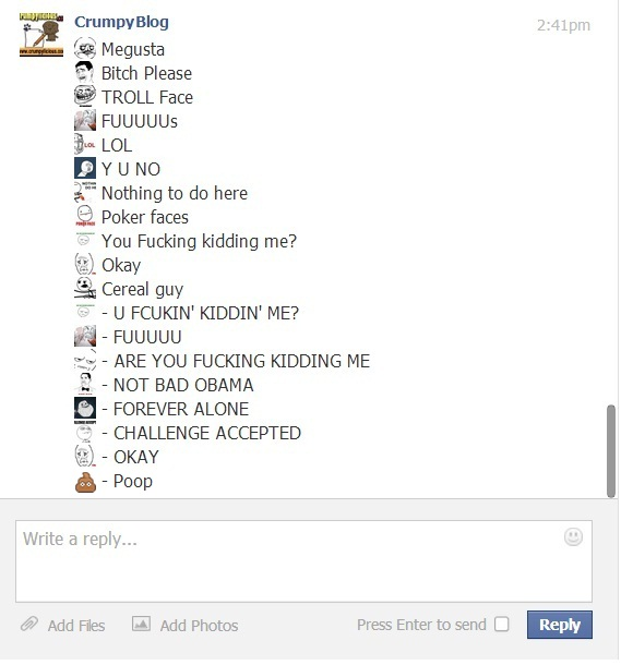 crumpyblog+1 facebook hidden special emoticons part 1 9gag memes