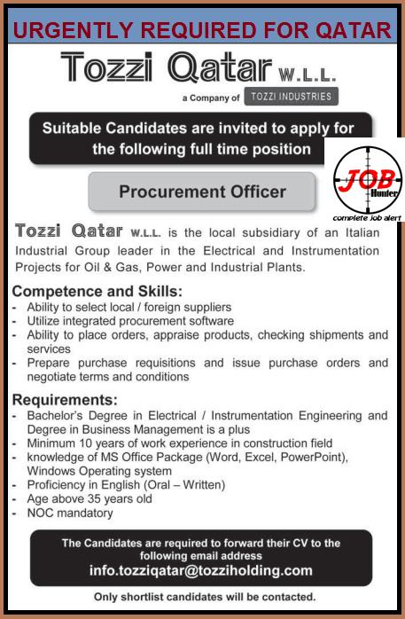 Procurement Officer Vacancy in Qatar - Jobhunferfb