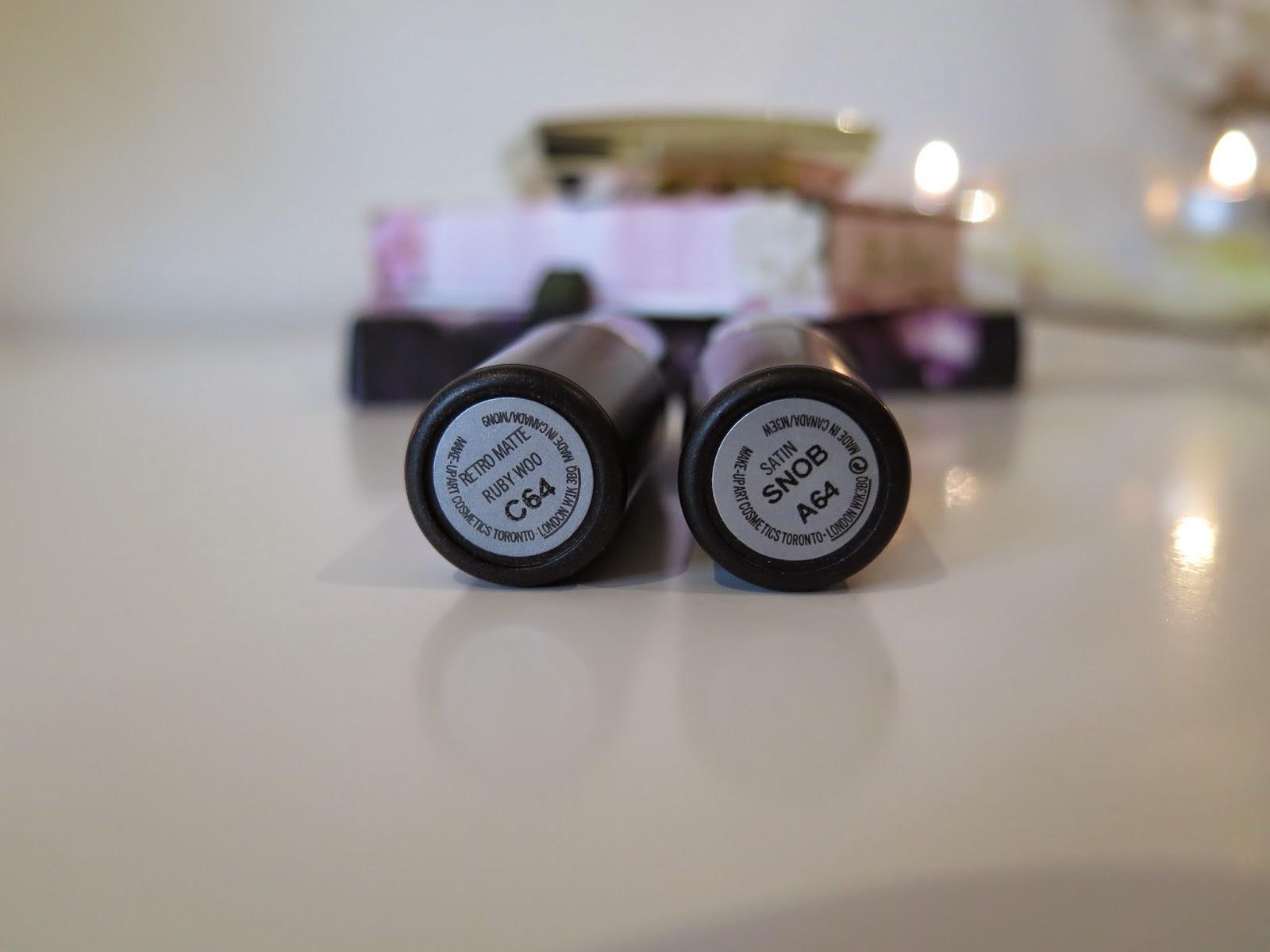 MAC lipstick, Ruby Woo, Snob