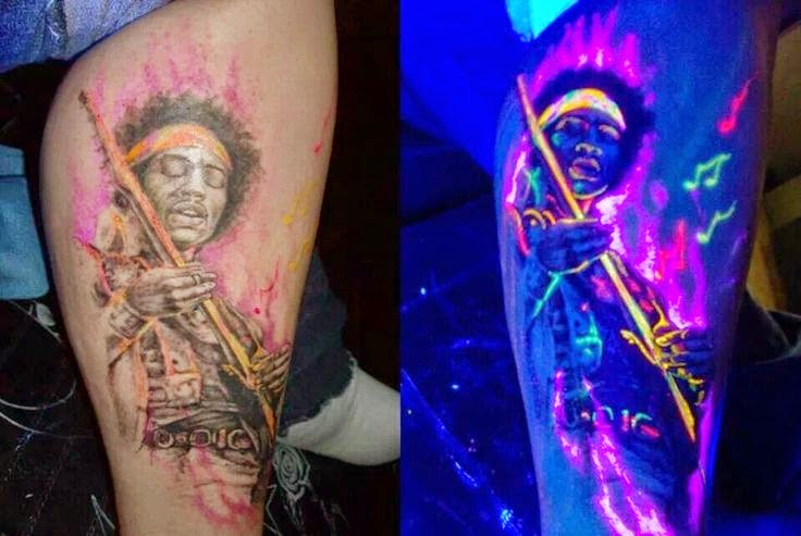 uv ink blacklight tattoo designs awesome jimi hendrix uv tattoo. Black Bedroom Furniture Sets. Home Design Ideas
