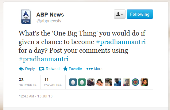 Pradhanmantri , ABP News programme with Shekhar Kapur activation on Twitter