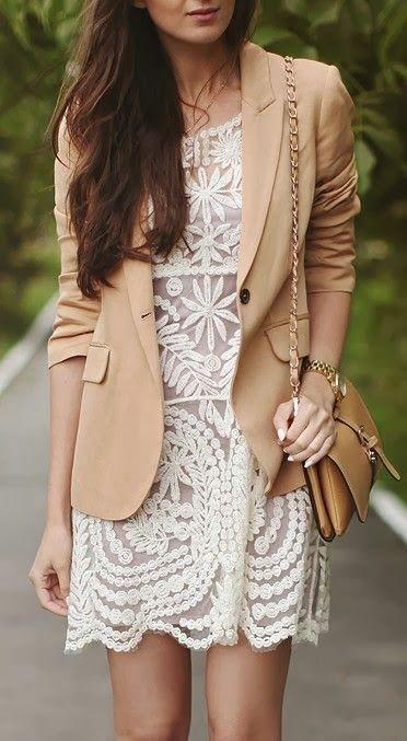 Lace Dress + Blazer, Street Style