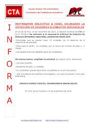 REITERAMOS SOLICITUD A CONIL SOLIDARIO LA DOTACIÓN DE DIVERSOS ELEMENTOS MATERIALES