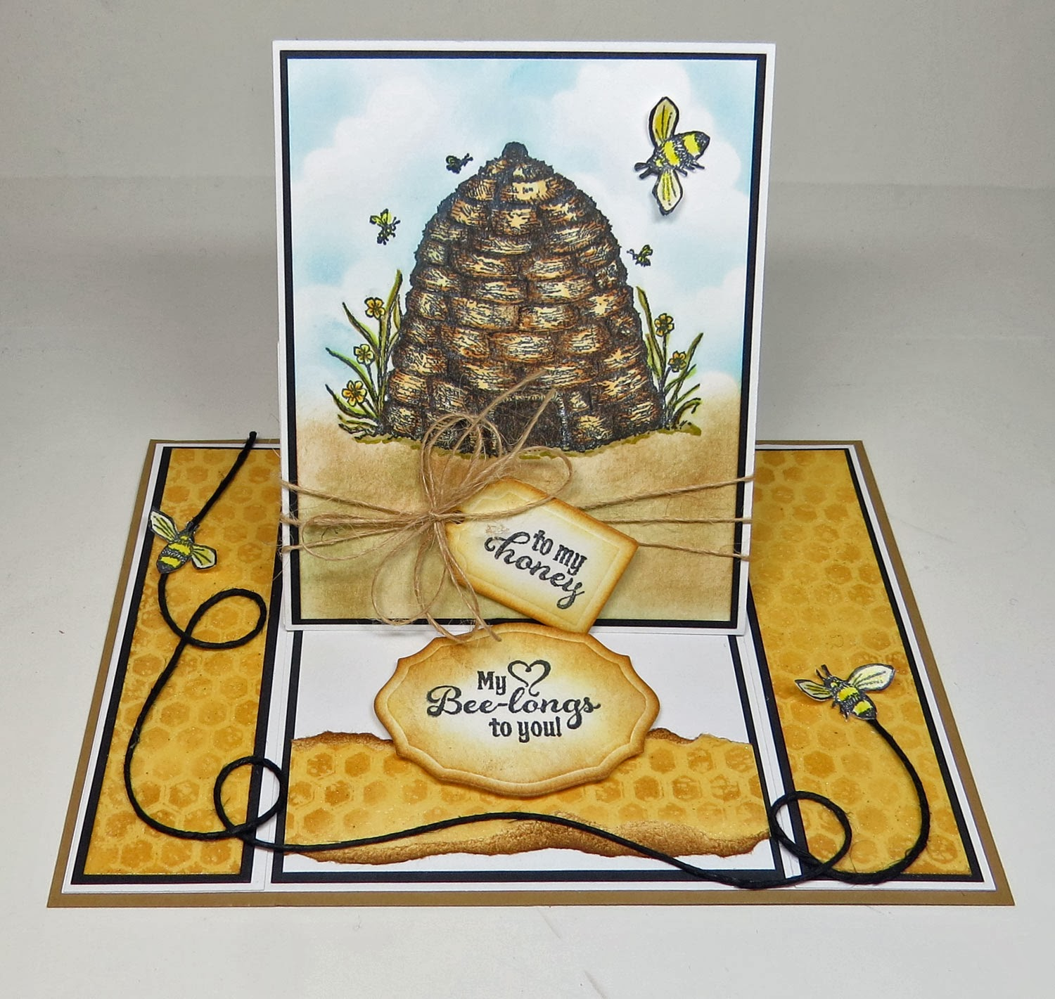 ODBD stamps, Sweeter than Honey, Be Happy, Honeycomb background, designed by Grace Nywening