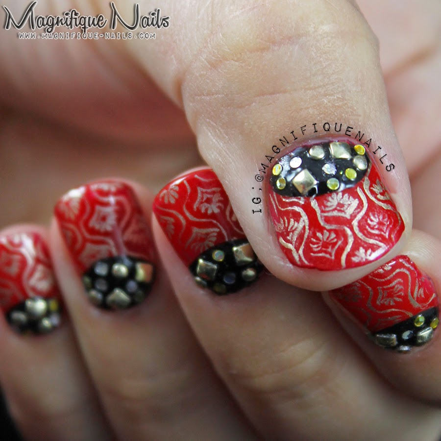 Magically polished nail art blog alphabet nail art challenge r i also wanted to accent the nails with studs and gold and sliver glitters which you can purchase in born pretty store or in nail art queen prinsesfo Images