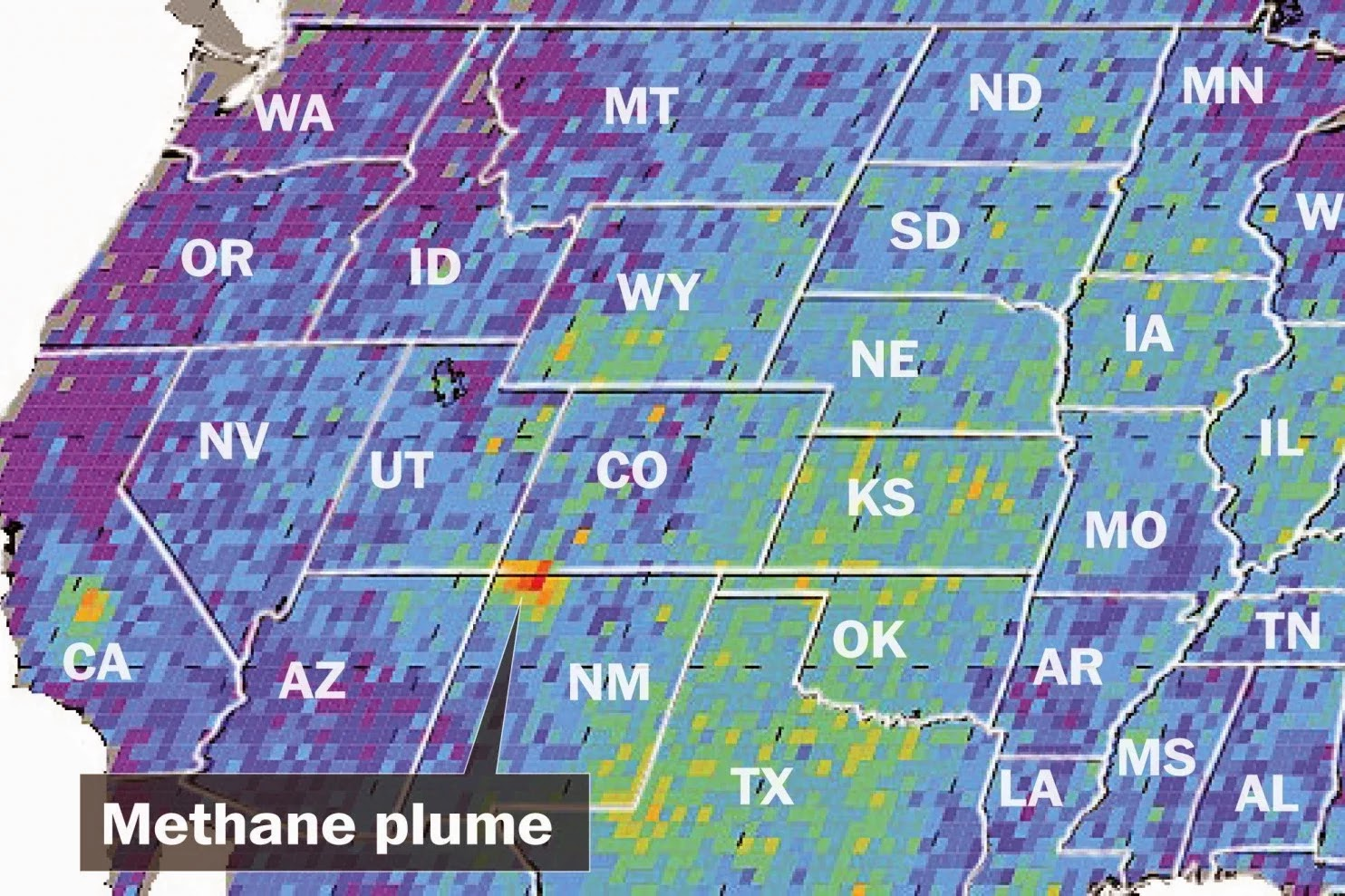 A huge methane plume escapes from oil and gas operations New Mexico. (Credit: washingtonpost.com) Click to Enlarge.
