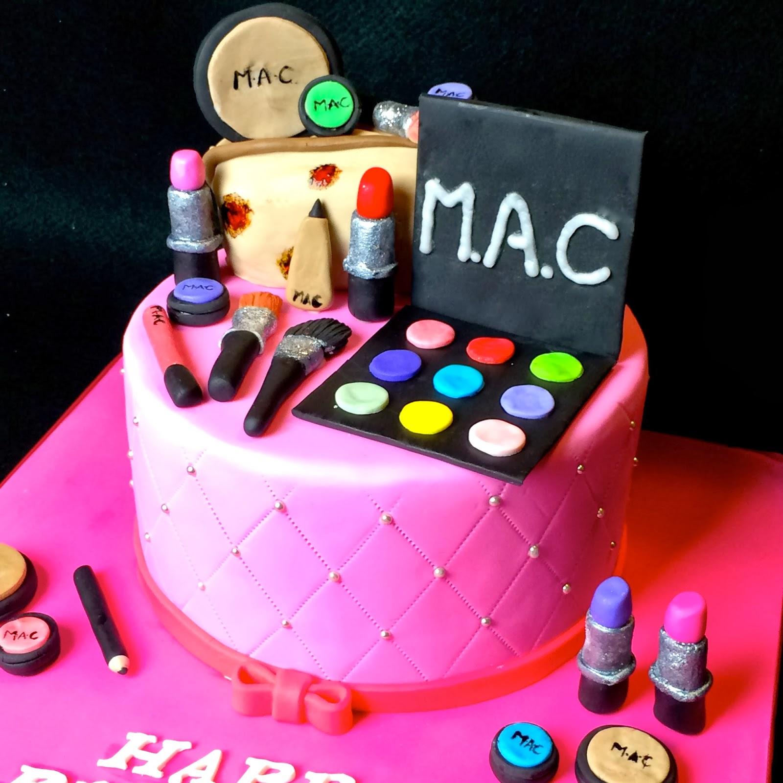 Makeup Themed Cake Images : Baking Maniac: Eggless Choco Orange Makeup Themed Cake
